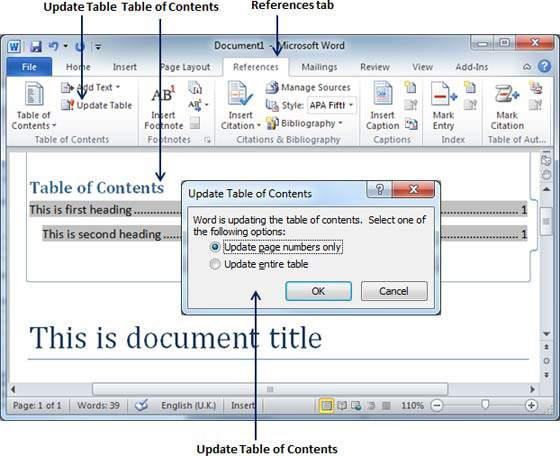 Kako napraviti sadržaj u Wordu